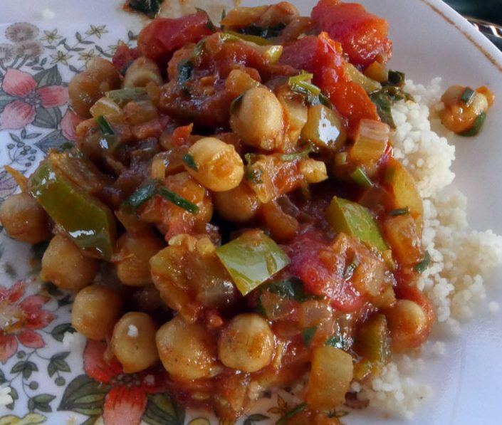 chickpea tagine on couscous