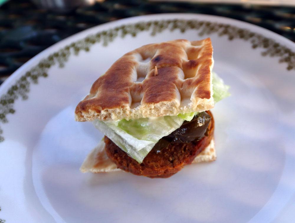 vegan salami dolma sandwich