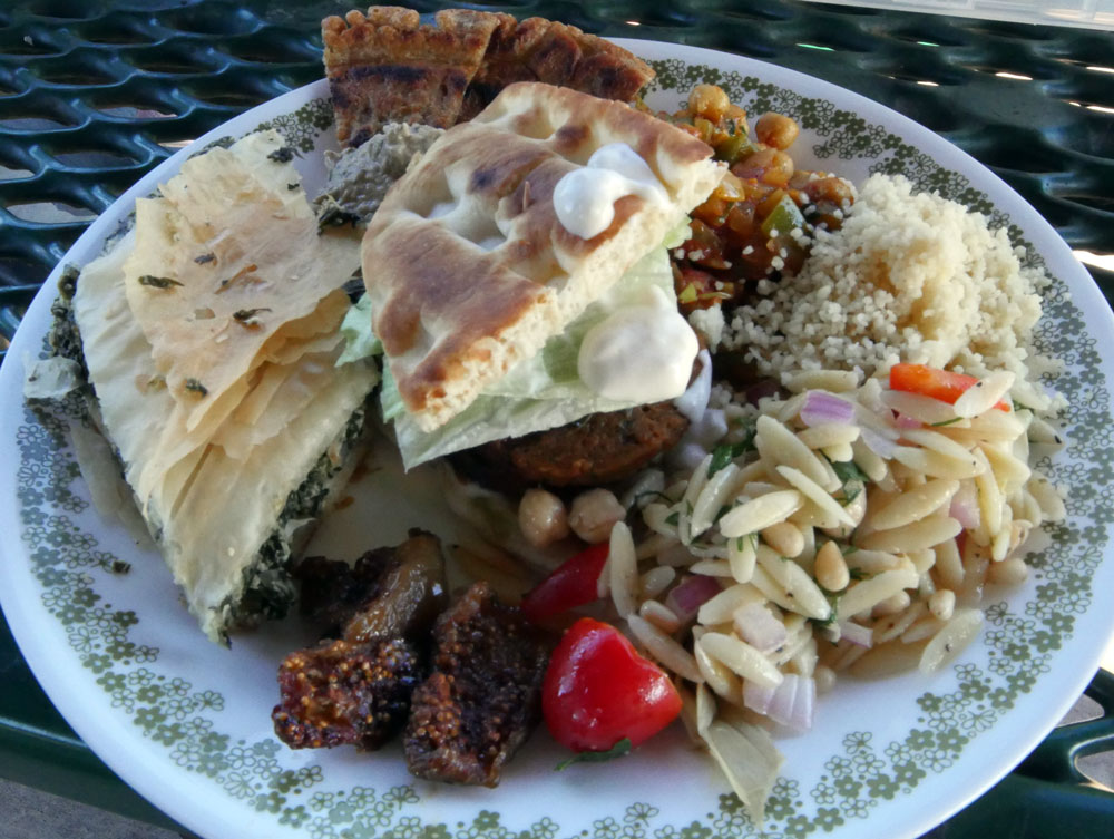 plate of vegan Mediterranean food
