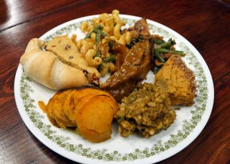 plate of vegan Thanksgiving food
