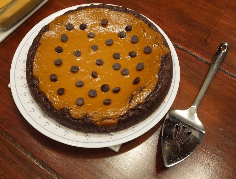 vegan pumpkin pie brownie