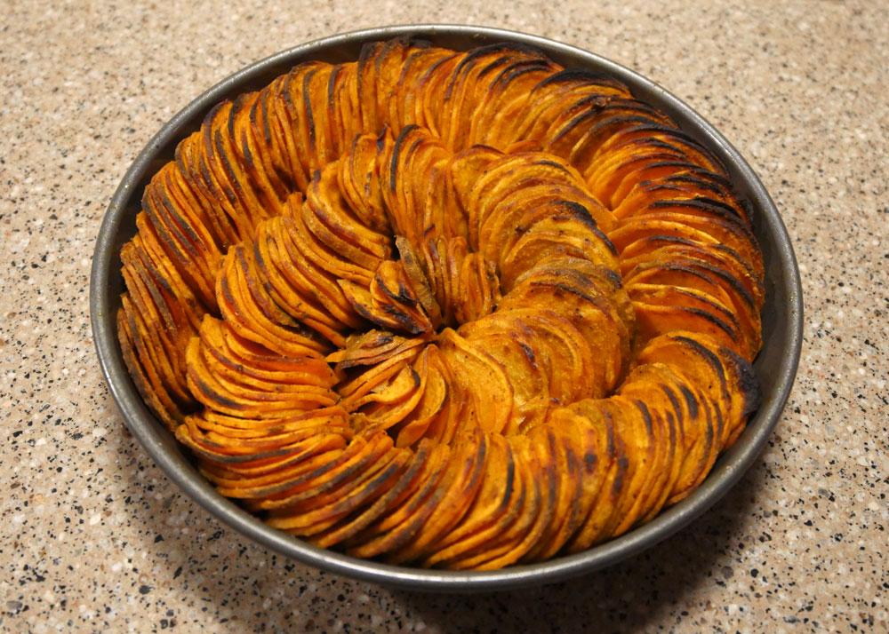 curry sweet potato slices