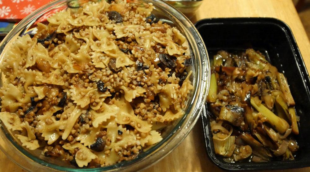 vegan kasha varnishkes and braised leeks