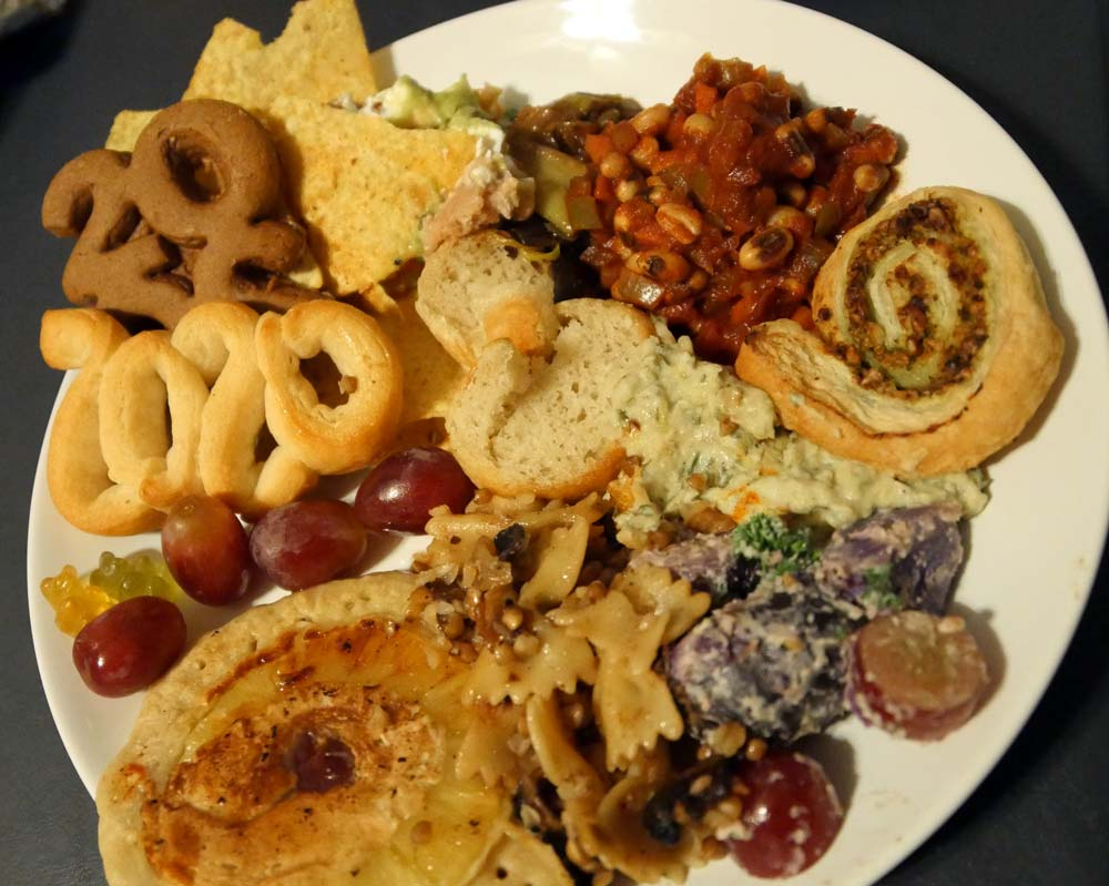 plate of New Year's Eve vegan food