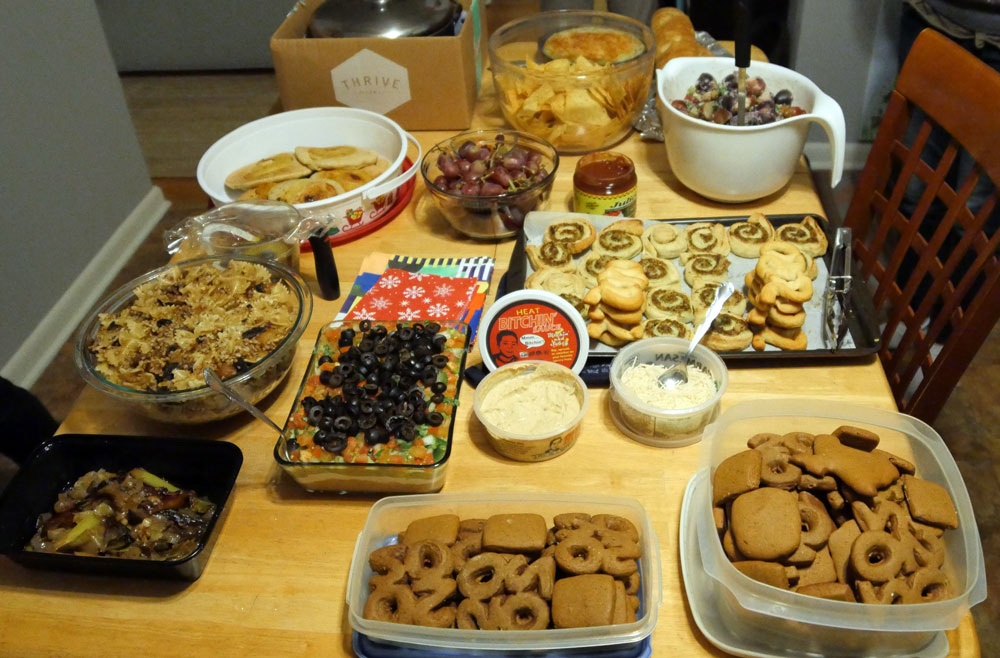 table full of New Year's eve vegan food