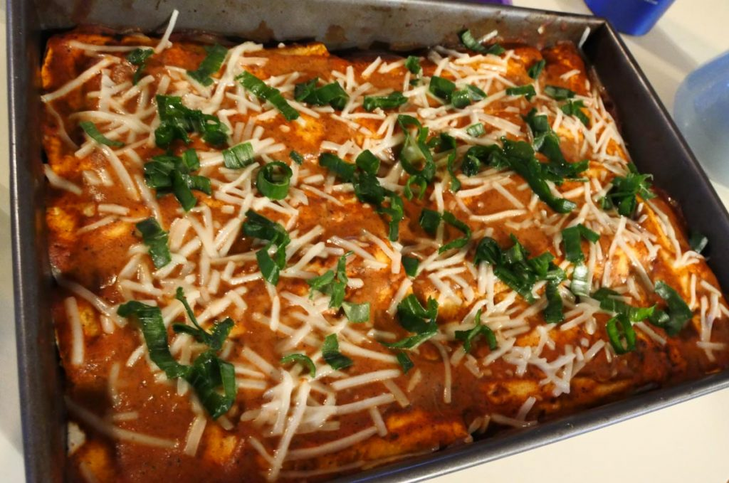 vegan butternut black bean enchiladas