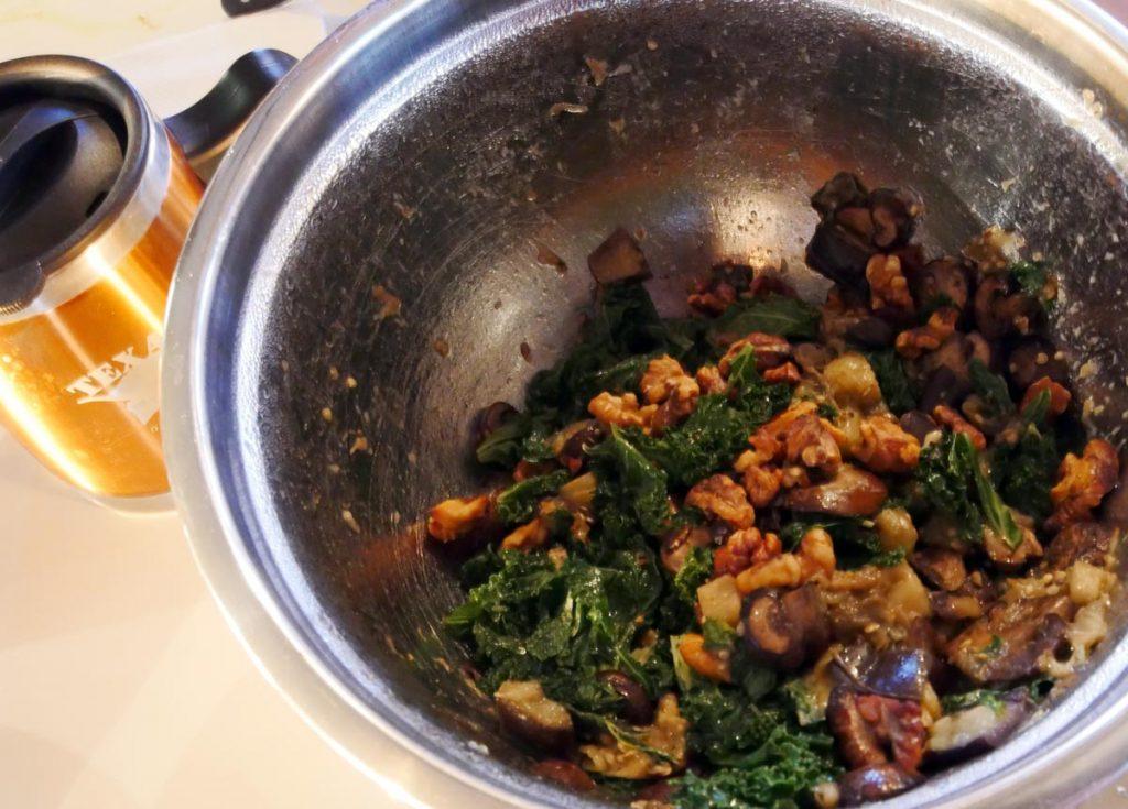 warm kale eggplant mushroom salad