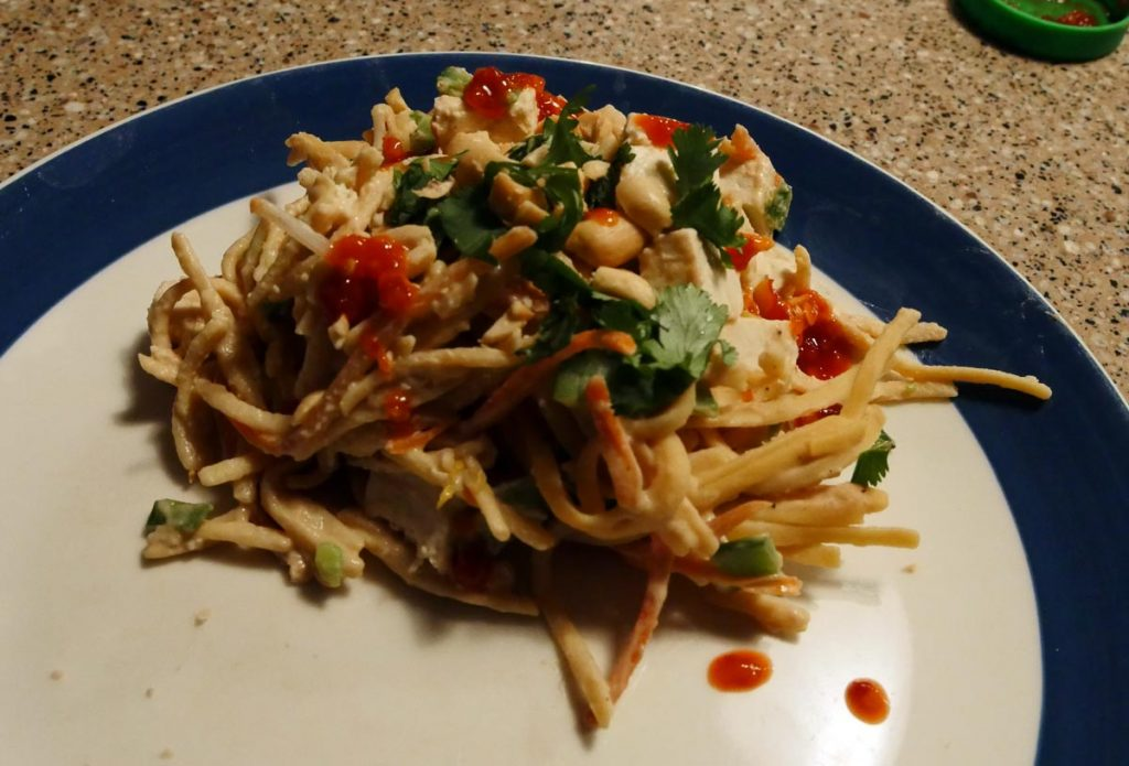 veagan peanut noodles on a plate