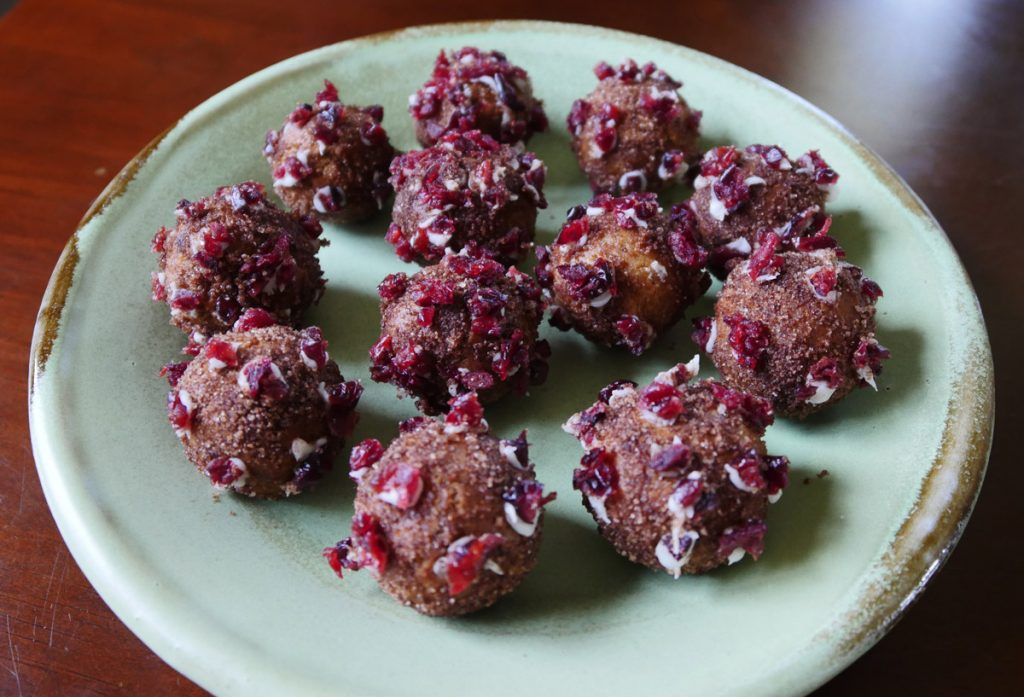 vegan donut holes with cranberries