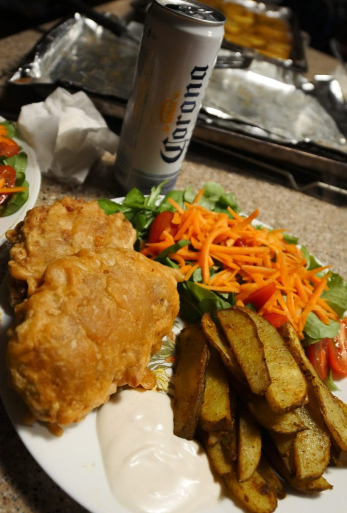 fried banana blossom seitan fish with chips and salad