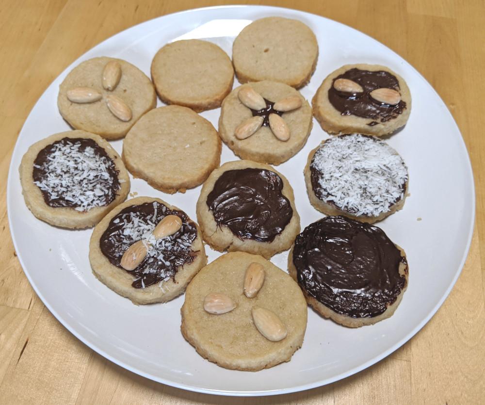 decorated vegan shortbread cookies