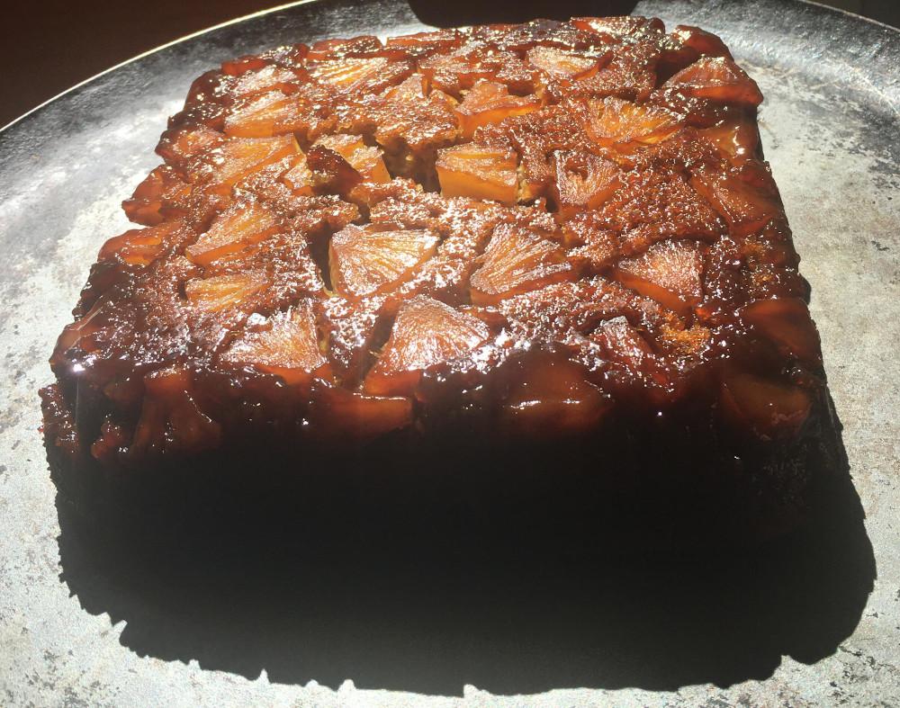 vegan pineapple right-side up cake