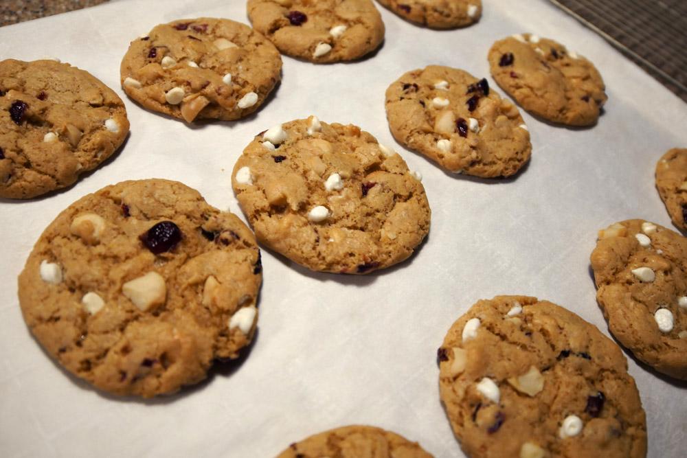 vegan white chocolate chip macadamia cranberry cookies