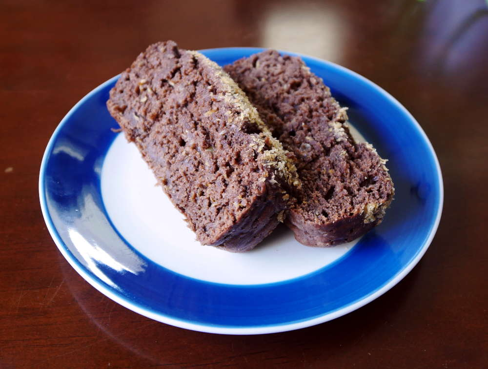 vegan chocolate squash bread slices