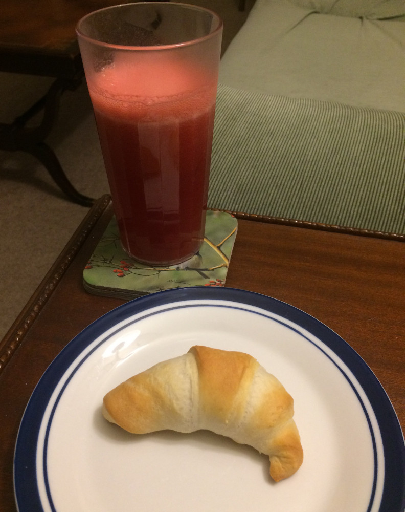June Bug Mocktail and crescent roll