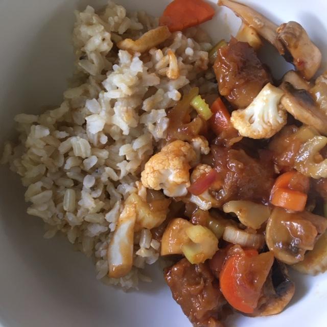 porkless bites stir fry with rice