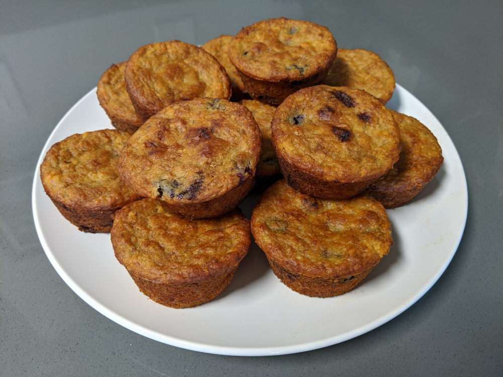 golden vegan blueberry-lemon banana muffins