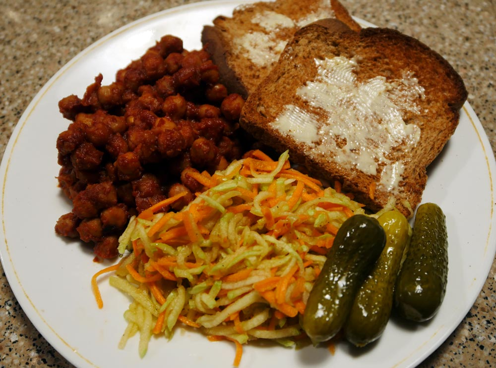 cucumber slaw aside barbecue chickpeas, margarined toast, and pickles