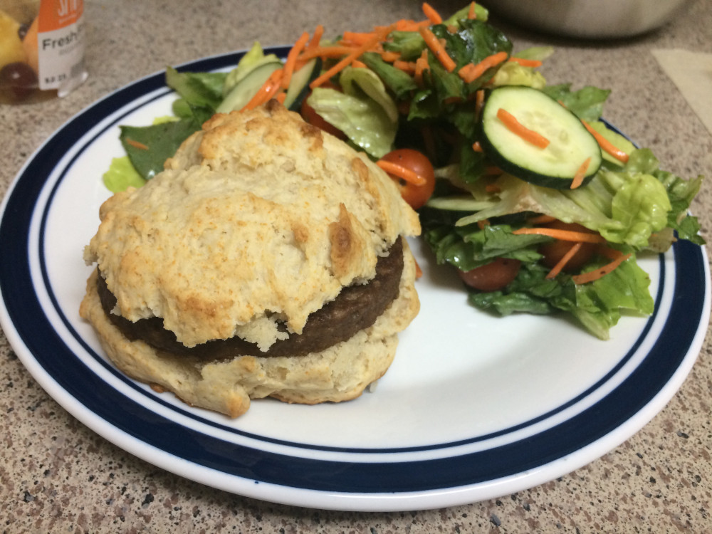 Boca Turk'y burger on a biscuit with salad