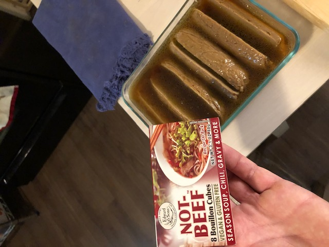 vegan frankfurters in not-beef marinade