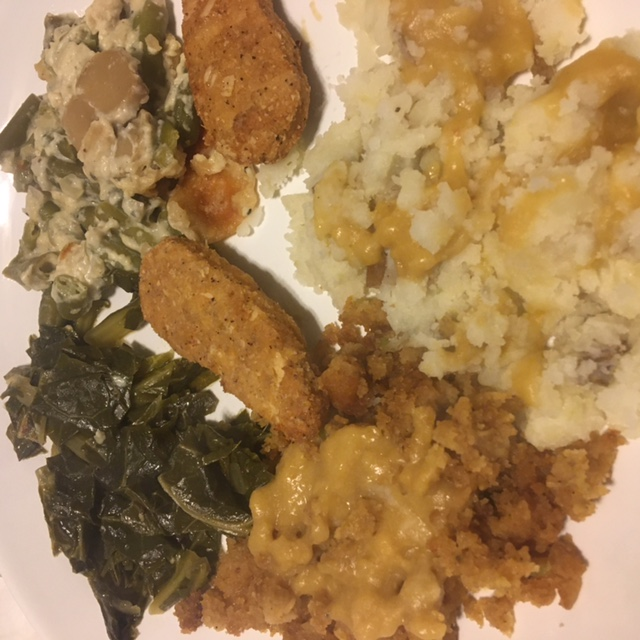 mashed potatoes, nuggets, collard greens, green bean casserole, cornbread stuffing