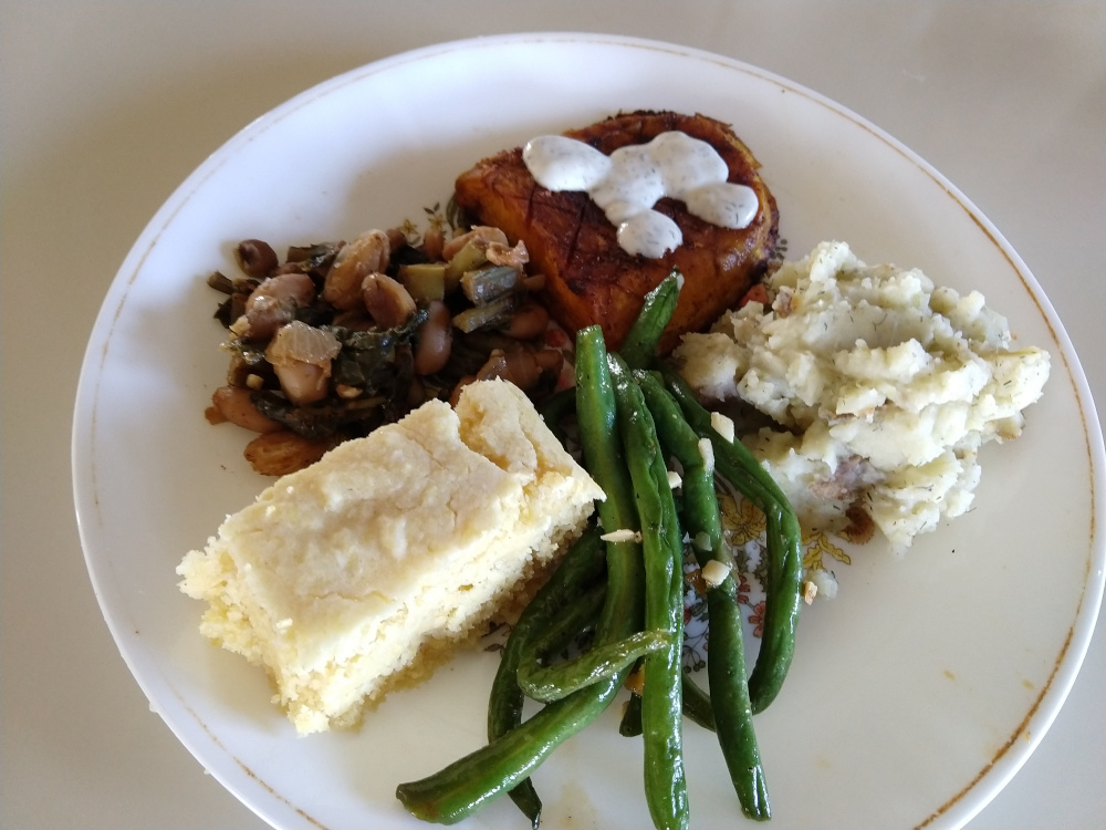 butternut squash, ranch dressing, cornbread, green beans, mashed potatoes, Swiss chard with beans