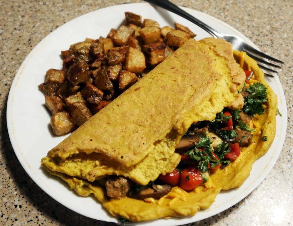 vegan omelette with home fries