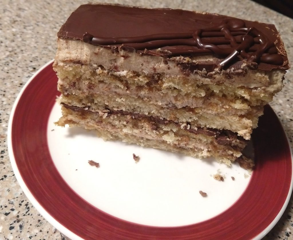 slice of vegan opera cake