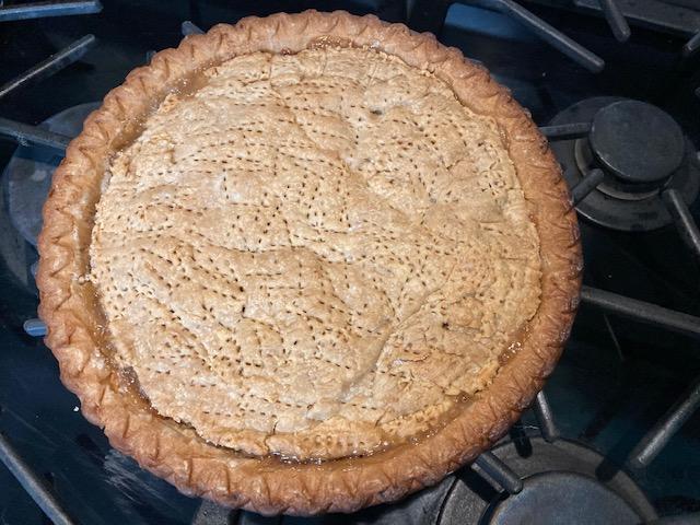 top view of full rhubarb pie