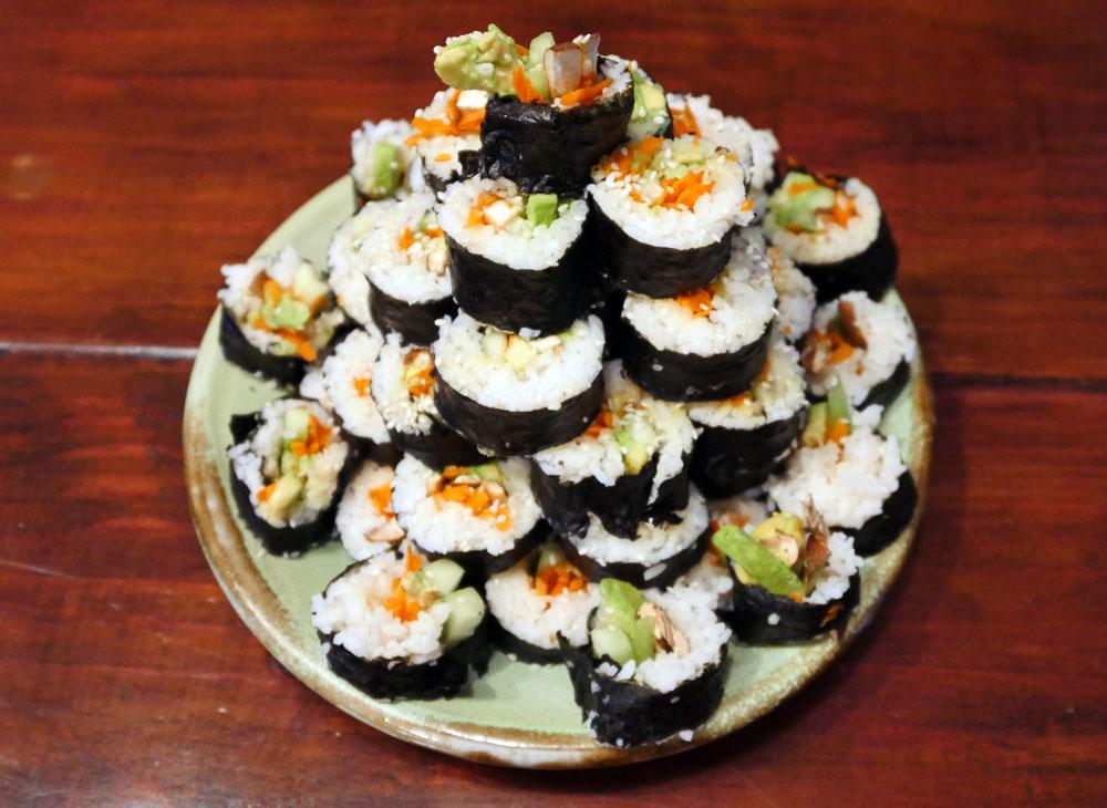 tower of veggie sushi