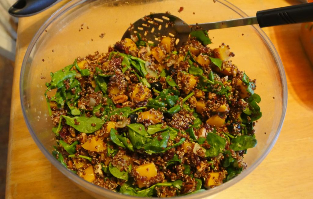 bowl with quinoa, butternut squash, spinach, blueberry salad
