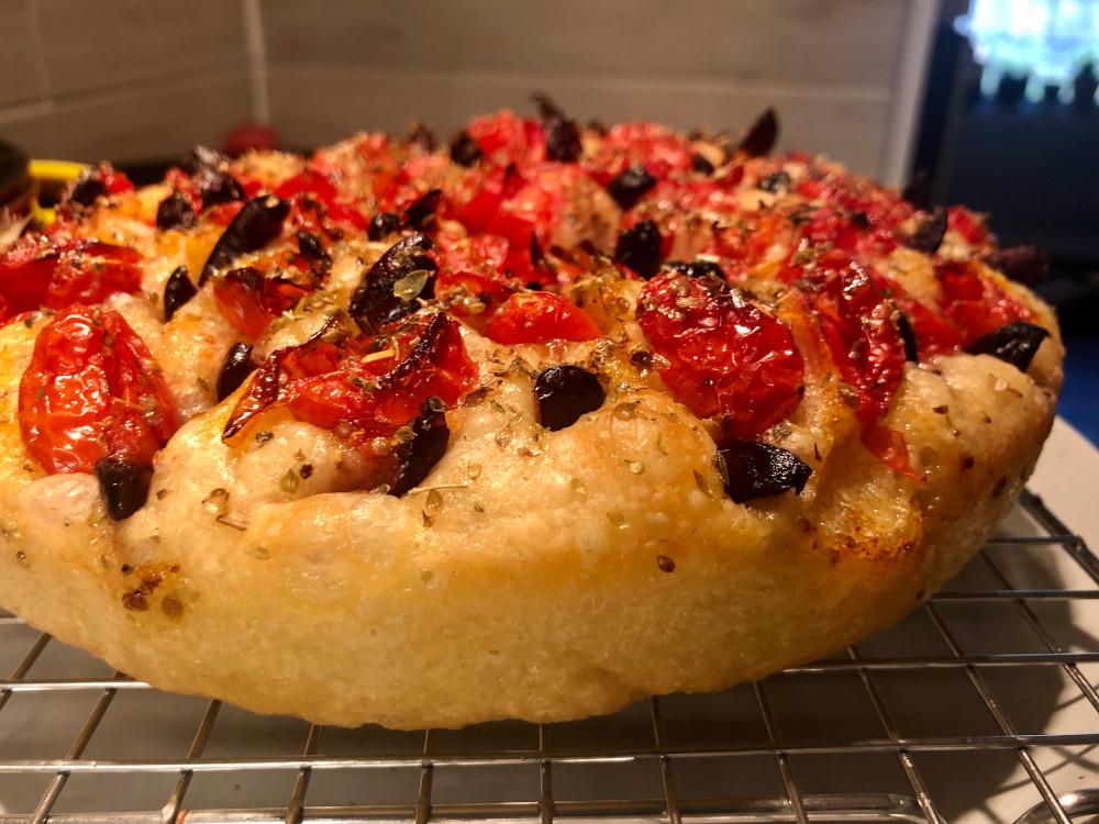 tomato, kalamata olive, thyme focaccia