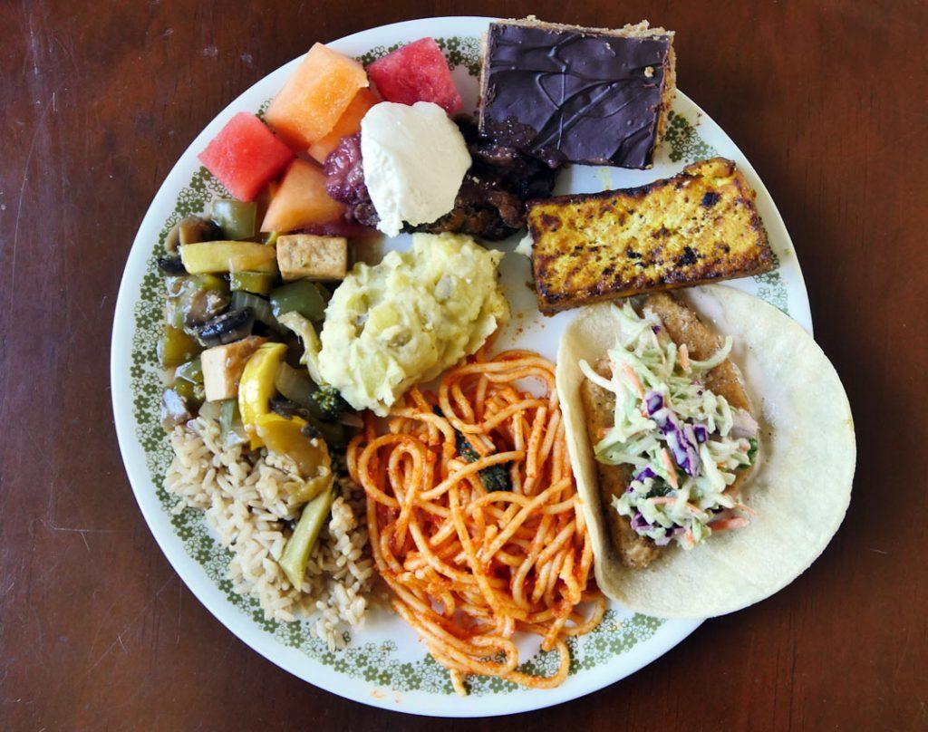plate of lazy vegan food