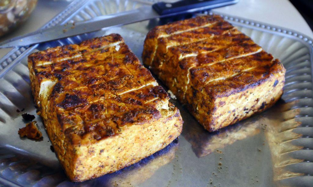 sliced pan-fried tofu blocks