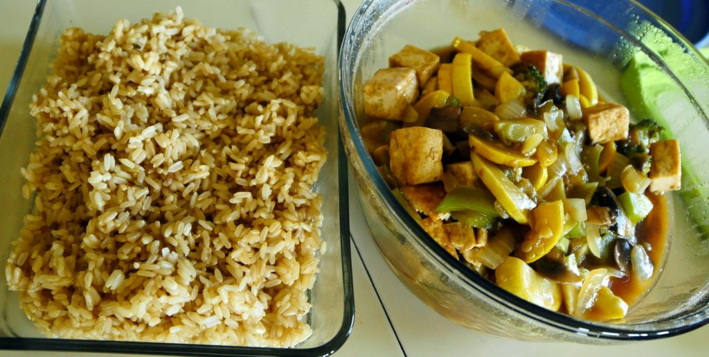 tofu veggie stir fry with brown rice